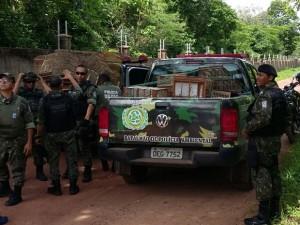 Apreensão de 28 pássaros foi realizada na zona rural de Teresina. Foto: Divulgação/PM